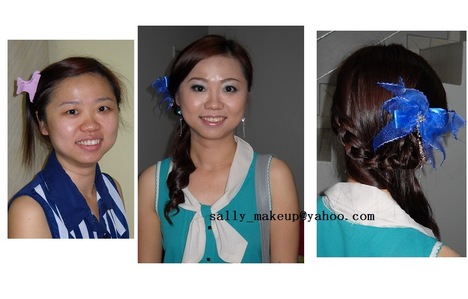 a vy simple personal makeup +hairdo for wedding eve